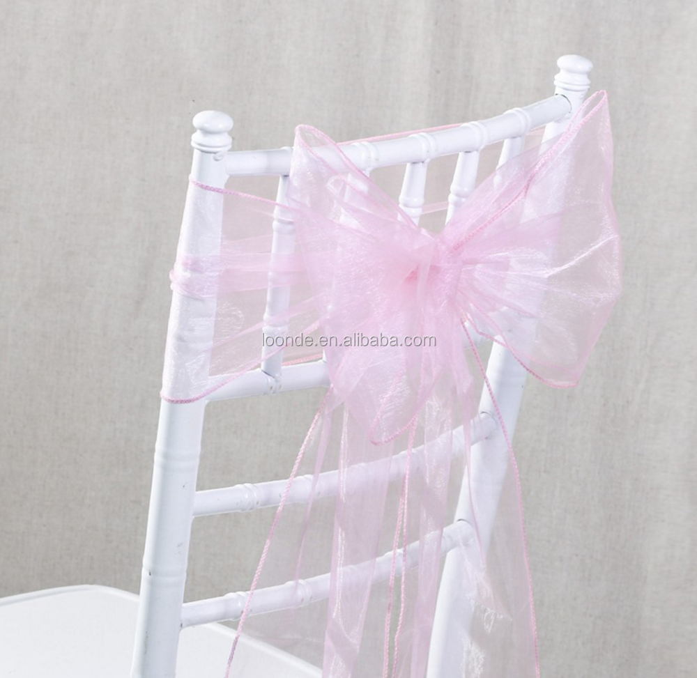 100% pink organza chair sash bow for wed