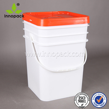 Square 20L white printing water-soluble fertilizers plastic bucket