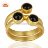 Natural Black Onyx Gemstone Fashion Ring Gold Plated Wholesale Brass Ring Manufacturer Indian Jewelry