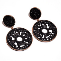 Bezel Setting 925 Sterling Silver Rose Gold Plating Big Round Filigree Hand Carved Black Onyx Gemstone Dangle Push Back Earrings