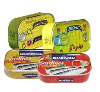 Canned sardine/maquerel fish del monaco