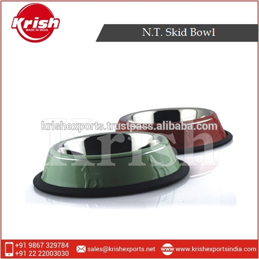 Stainless Steel Twin Colour N.T Skid Bowl for Pet Food