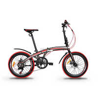 "GARION 20"" Alloy Folding Bike Foldable Bicycle with Disc Brake - Matte Brown with Red"