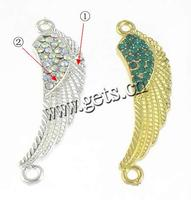 Rhinestone Zinc Alloy Connector Wing Shape plated with rhinestone & 1/1 loop more colors for choice 11.5x41x3.3mm Hole:Approx 2