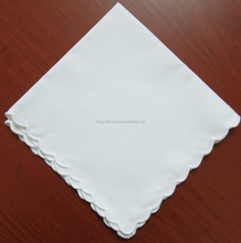Scalloped edge lady white cotton handkerchief