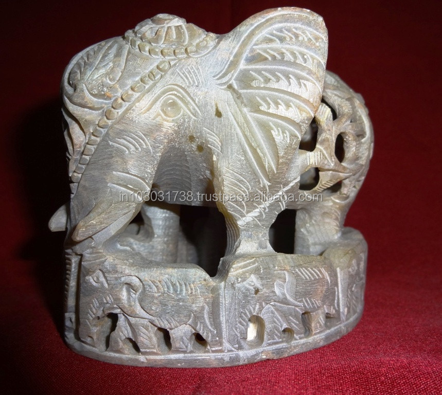 Soapstone Undercut Elephant with fine cut work ~ Corporate Gift Soapstone Undercut Egg - Soapstone Hand Carved Cut Out Elephant