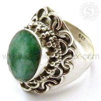 Natural Look !! Special Indian Emerald Gemstone Silver Ring /925 Silver Jewelry /Wholesaler Silver Silver Ring RNCT2100-7