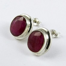 Amazing !! Pink Oval Dyed Ruby 925 Sterling Silver Indian Earring, Wholesale Gemstone Silver Jewelry, Unique Silver Jewelry