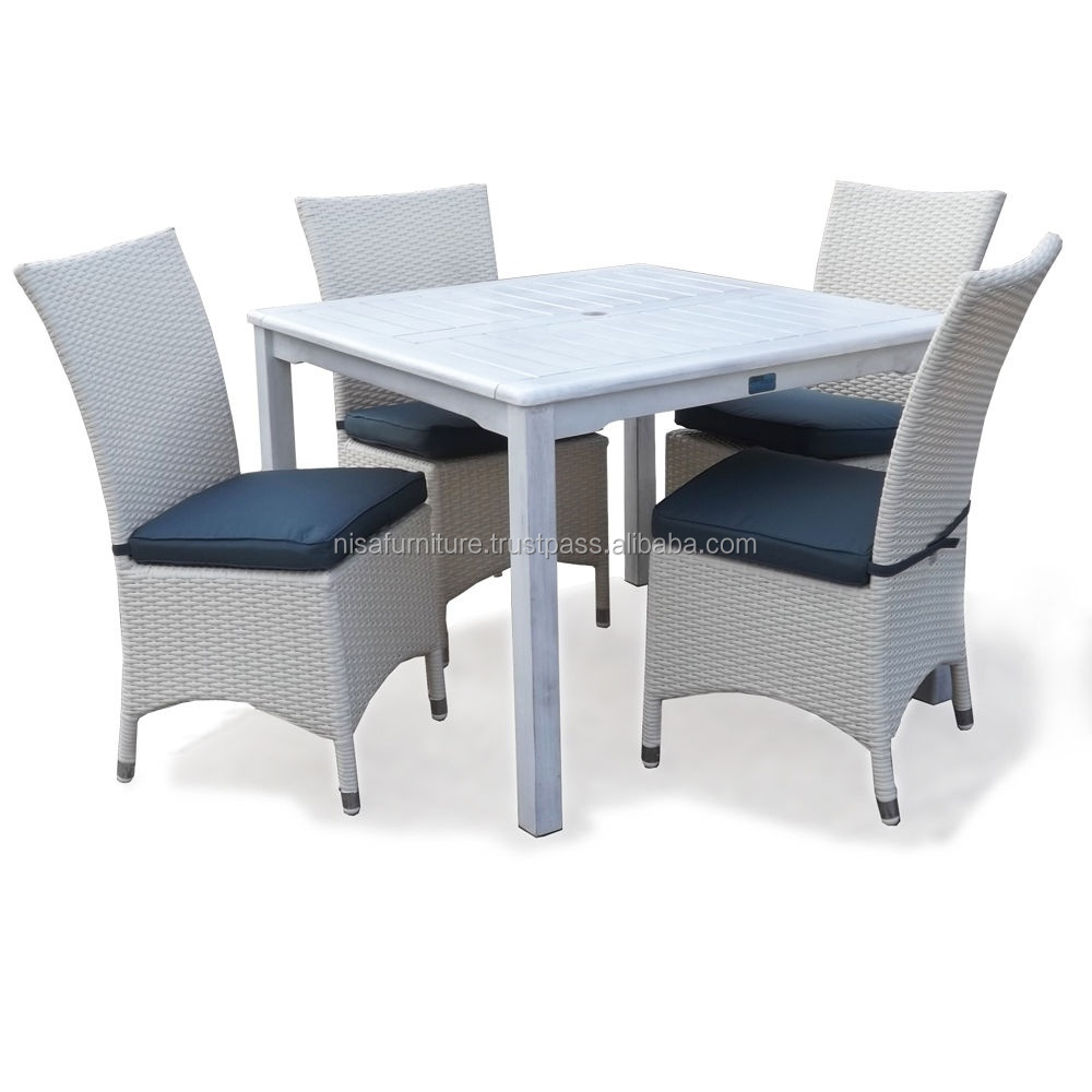 Rattan Wicker Outdoor Dining Table and Chair Set