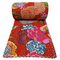 COTTON BEDSPREAD BLANKET THROW COVERLET FLOWER PRINTED RED COLOR KANTHA QUILT
