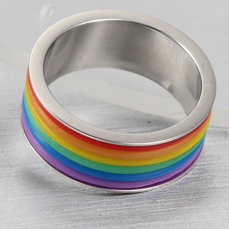 Fashion gay man ring stainless steel latest rainbow silicone wedding ring rainbow ring