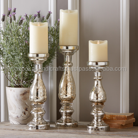 MERCURY SILVER GLASS CANDLE HOLDER, ANTIQUE CANDLE HOLDER, DECORATIVE PILLAR CANDLE HOLDER