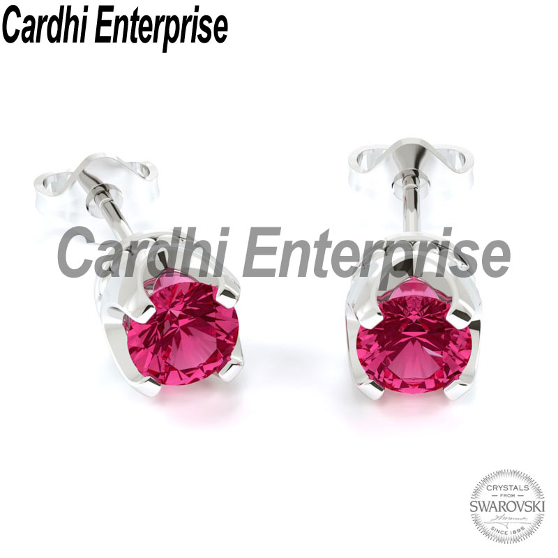 Crown Earrings (Indian Pink) Jewelry Made With Genuine Crystals From Swarovski 18k White Gold Plating Brass Fashion Jewellery