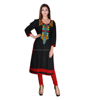 Factorywala Designer & Red & Blackl Casual wear Embroidered Kurti/kurta/Dress For womens/girls