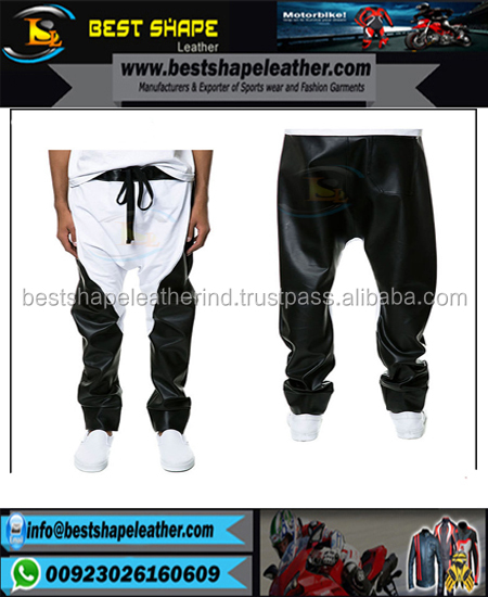 Punk Rock Vegan Armor Biker cross design Leather Pants Men