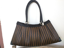 Ladies elegant Handbag La Bella hand-woven sugar palm and leather metal zip luxury product made in Thailand from paradise