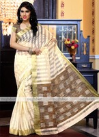 Meghdoot Woven Art Silk Saree/Sari Cream and Brown Colour Wholesale