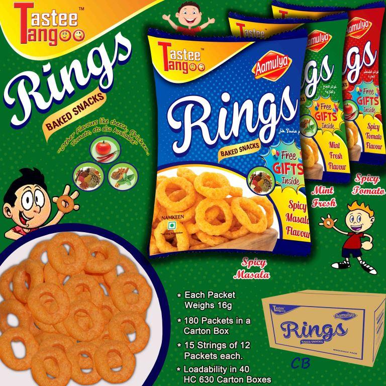 Rings Snacks/ Non Spicy Snacks/ Tomato/ Masala/ Cheese snacks