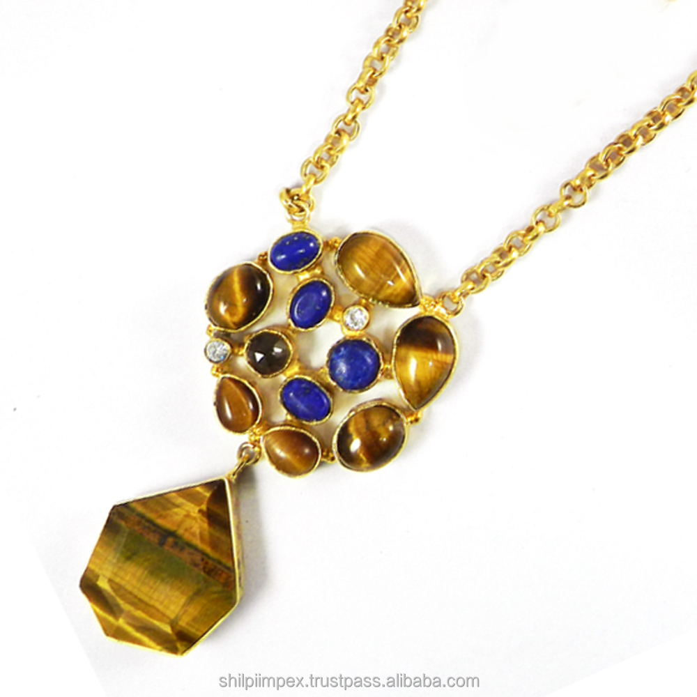 Hadly Brass Designer necklace - Tiger Eye - Lapis Lazuli - CZ Necklace - 18k gold plated - One of a kind jewelry - SINL0222