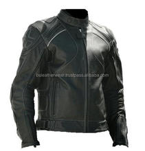 German Style Latest Design Men's Fashion Black Motorcycle Leather Jacket