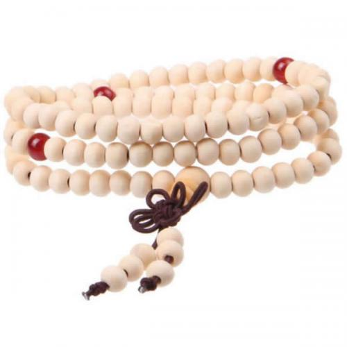 108 Mala Beads, Wood, with Elastic Thread & Red Agate, Buddhist jewelry & 4-strand, 6mm
