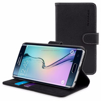Snugg case for Galaxy S6 Edge Case - Leather Flip Case with Lifetime Guarantee (Black) for Galaxy S6 Edge