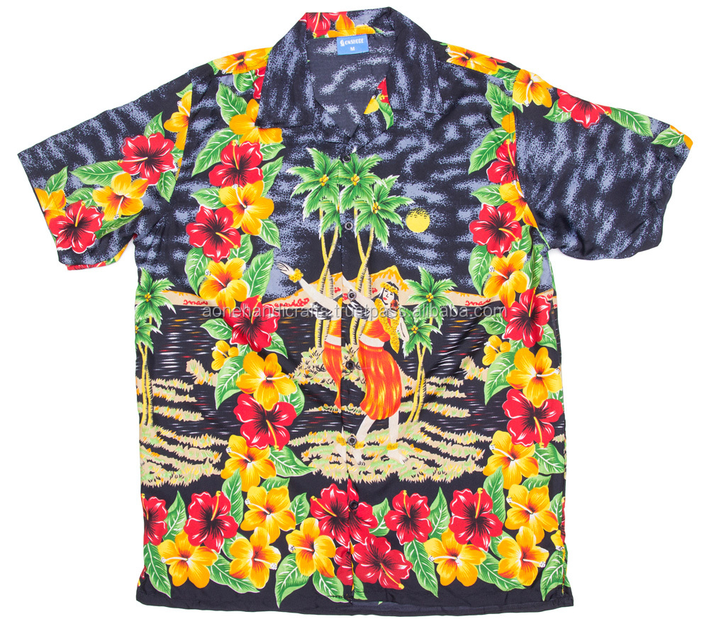 colorful flower and tree print short sleeve Mens Hawaiian shirt