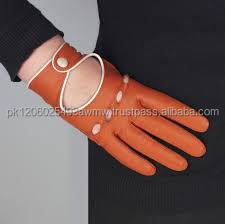 fashion leather wrist gloves/brown leather driving gloves