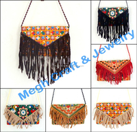 Indian Tribal banjara Clutch Bag-Tassel Suede Fringe Vintage Womens Shoulder Handbag-Wholesale Boho hippie Cross Body Bag