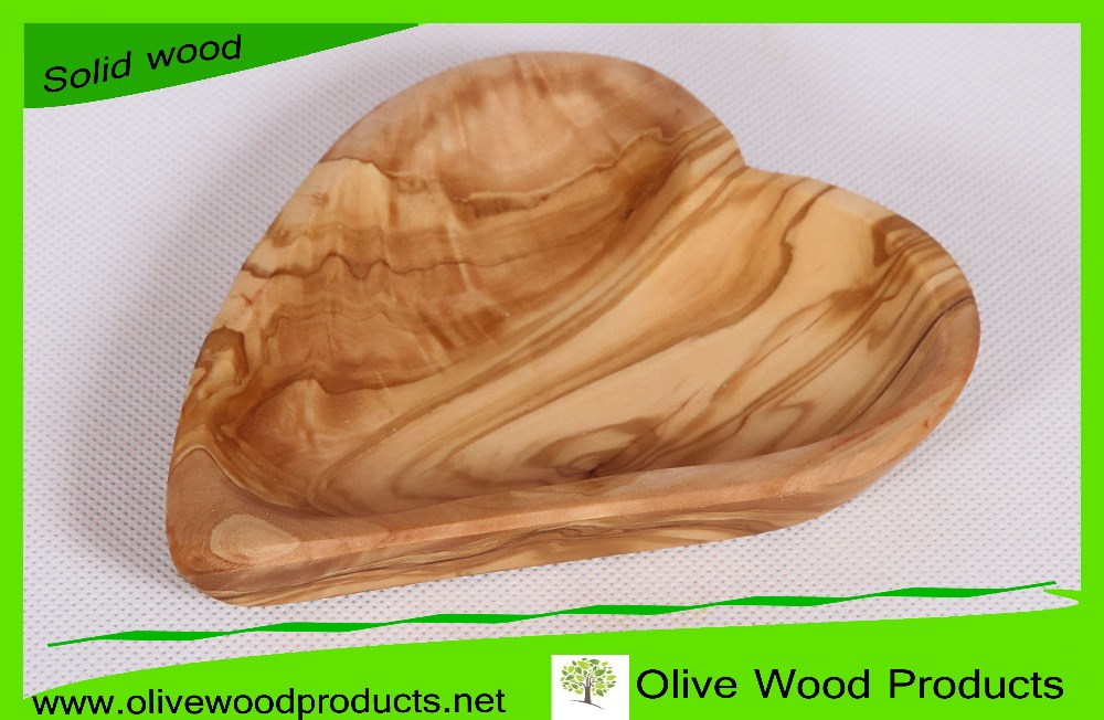 Natural Olive Wood Dish, Wooden Heart Plates
