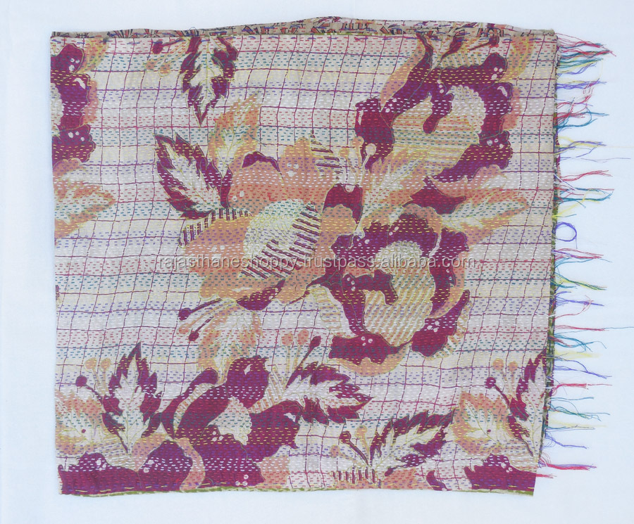 Indian Silk Kantha Reversible Scarf Handmade Long Sari Scarf