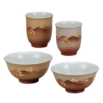 Kutani ware, tea cups and bowls set, Gold Leaves Mountain Range / his and her teacups / tableware for a couple