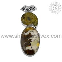High Quality Fossilite, honey ocean jasper Gemstone Silver Jewelry Pendant PNCB1361(S)