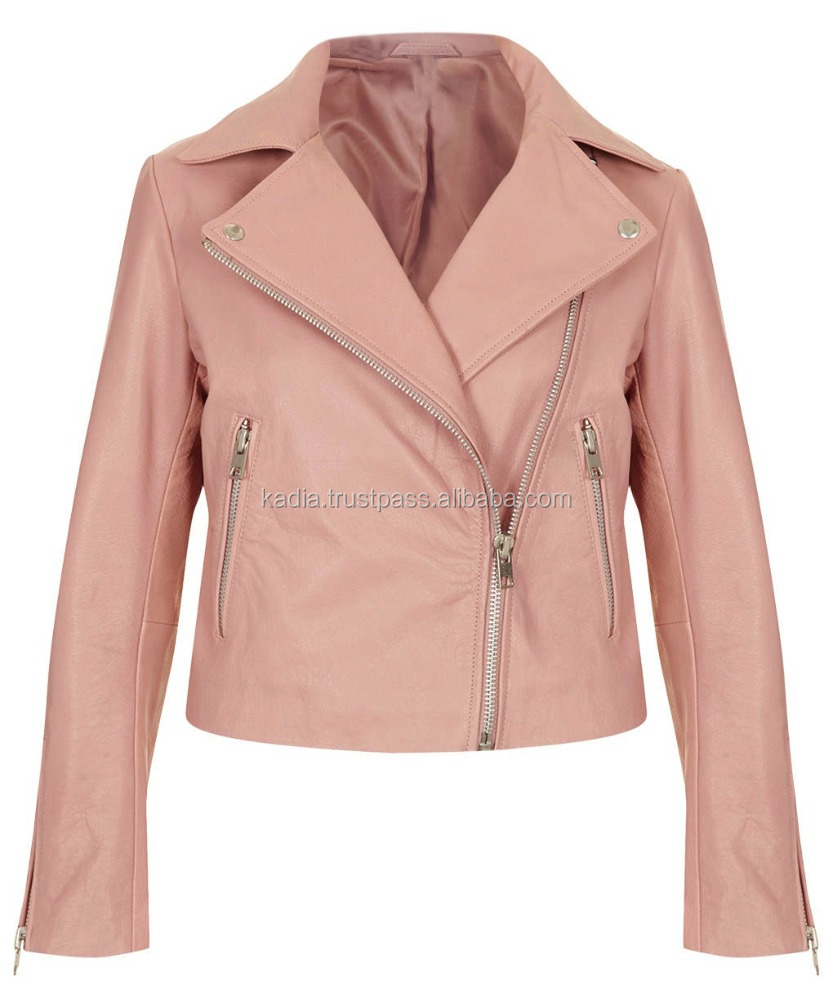Tea Pink Ladies Leather Jacket
