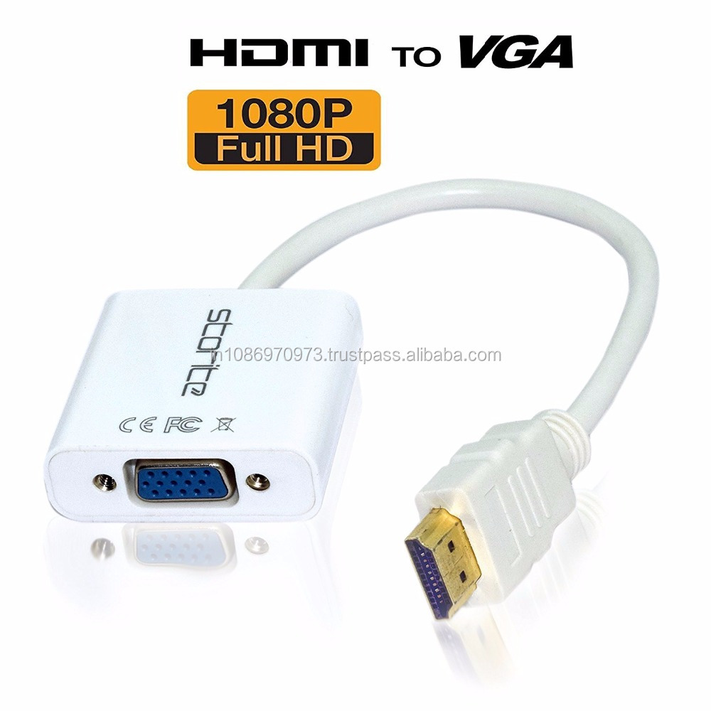 HDMI Male To VGA 1080P With Audio HD Video Cable Converter Adapter For PC Desktops Laptops Power-Free MHL support - White