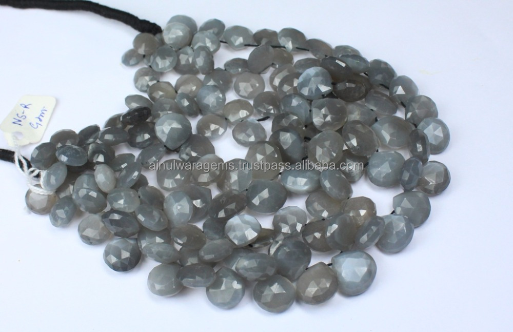 Natural Grey Moonstone Heart Shape Faceted Briolettes Beads