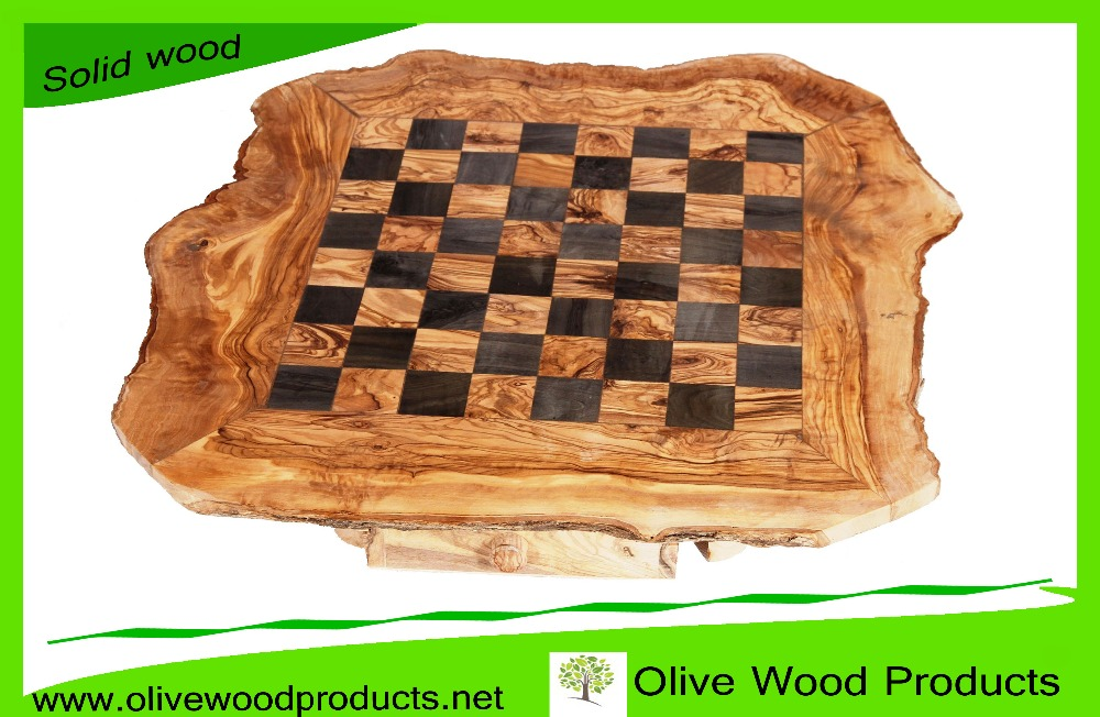 Hand Carved Olive Wood Chess Board, Wooden Chess Game Board