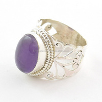 925 silver jewelry Amethyst rings jaali cut rings natural gemstone jewelry Fashion rings