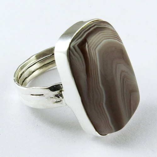 Factory Today Deal 925 Ring !! Stripped Onyx Silver Awesome Jewelry_925 Wholesale