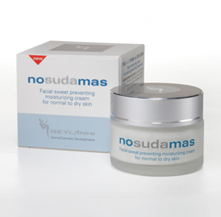 Nosudamas is a moisturizing cream especially developed to reduce / prevent sweating in the face and scalp