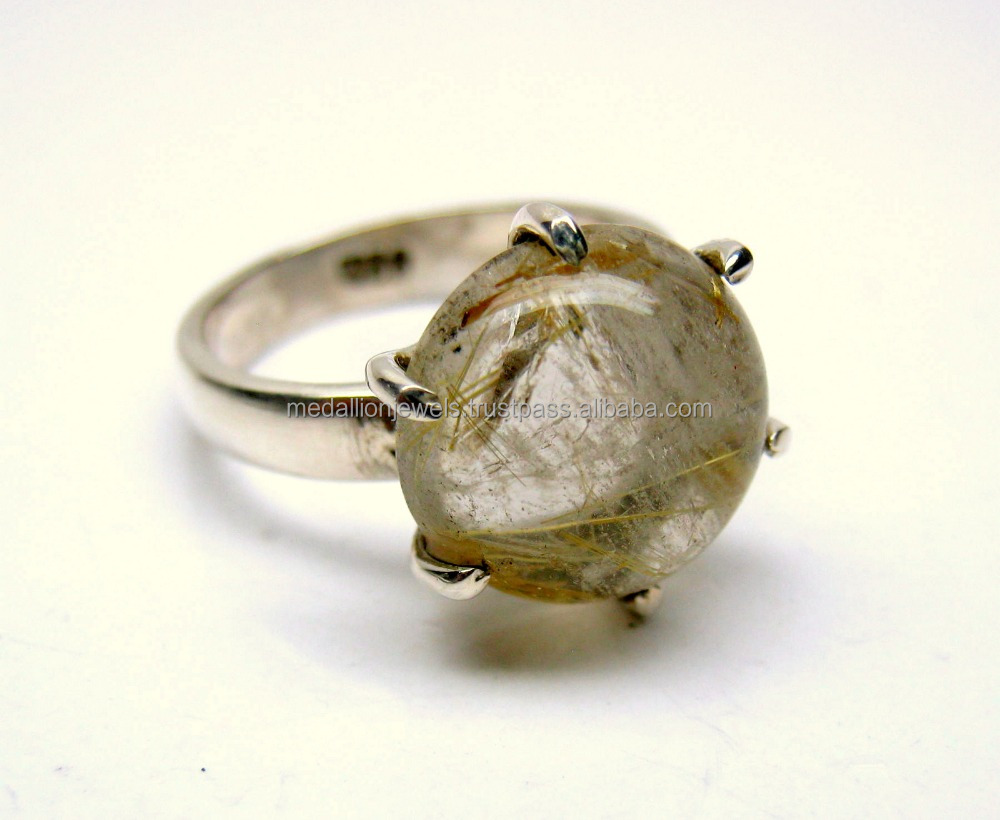Golden Rutiliated Quartz 925 Sterling Silver Fashion Ring, Rutile Gemstone Jewellery , Designer Oxidized Silver Handmade Jewelry