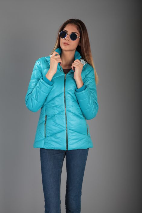 2017 New Fashion Woman Blue Padded Coat High Quality Best Price