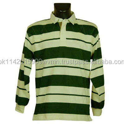 Custom made best quality long sleeve striped rugby polo shirts