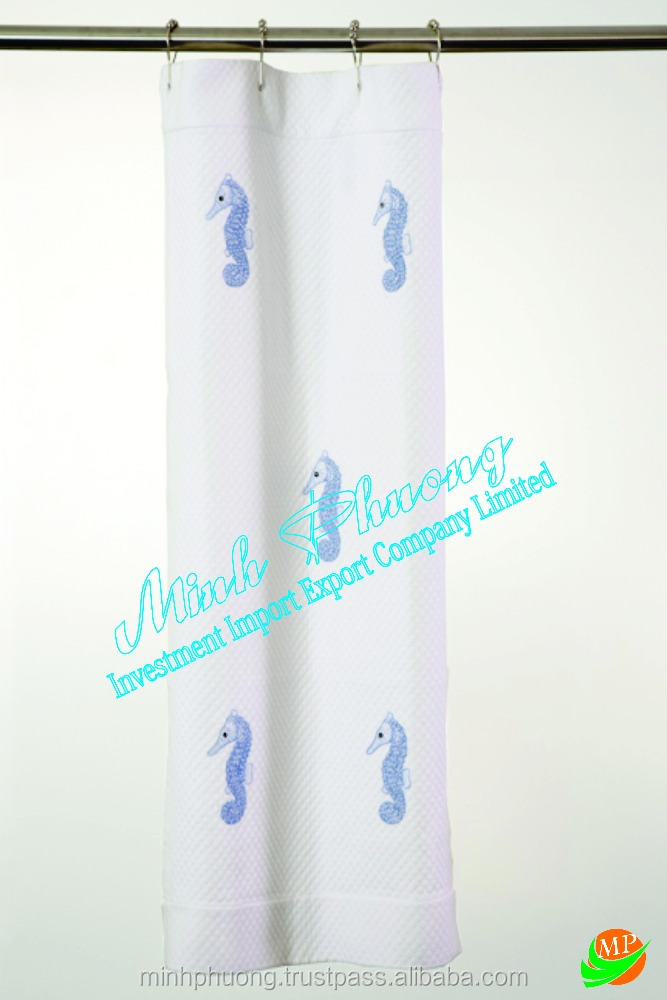 Design hippocampus Embroidery Curtain Shower bath room for Hotel, Restaurant