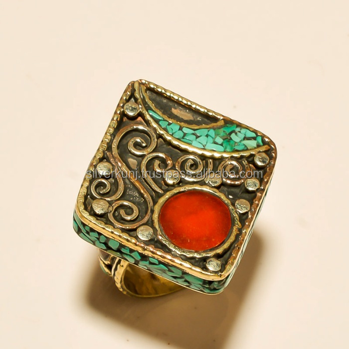 Handcrafted coral with turquoise 925 Sterling Silver Tribal Ring Jewellery suppliers