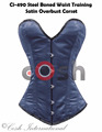 Overbust Navy Polyester Satin Steel Boned Waist Training Corsets Supplier And Manufacturer From Cosh International Pakistan