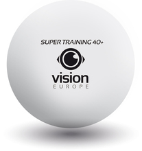TABLE TENNIS BALLS, VISION EUROPE SUPER TRAINING 40+, plastic seam (WHITE)