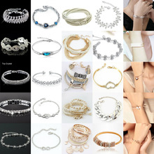 New Women Lots Style Gold/Silver Plated Charm Bangle Cuff Bracelet Jewelry