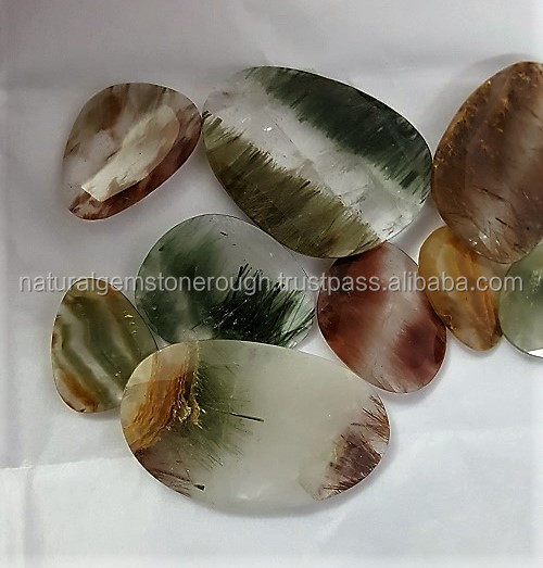 Natural coloured rutile quartz rough for cut cabochon in whole sale price in big quantity