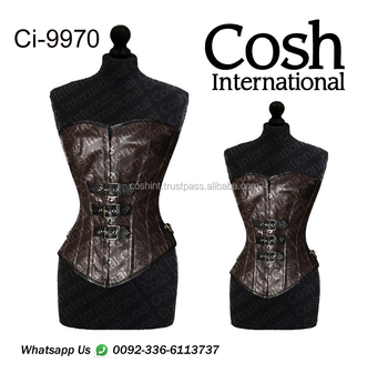 COSH INTERNATIONAL : Ci-9970 Brown Leather Waist training Corset With Busk Supplier | Manufacturer